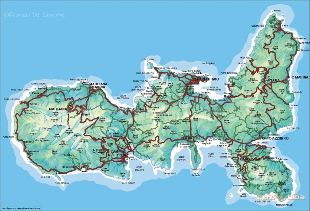 Cartine e mappe dell isola d elba for L hotel della cabina islanda